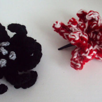 Crochet Flower Hair Clip Set - Black/Silver and White/Red - Goth, Emo, Punk, Alternative