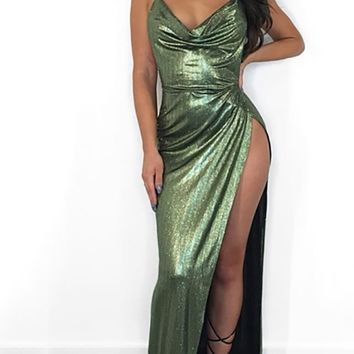 So Mysterious Metallic Sleeveless Spaghetti Strap Backless Halter Drape V Neck Side Split Maxi Dress - 2 Colors Available