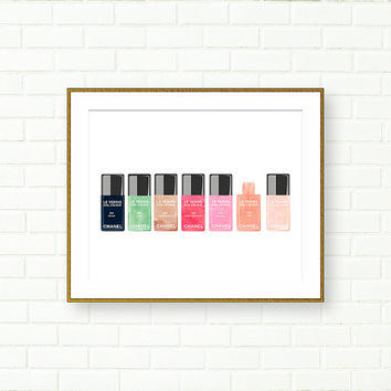 Chanel Nail Polish Print, Fashion Illustration, Vanity Wall Decor, Pastel, Makeup Collection, Wardrobe Decor, French, Accessories, Glam