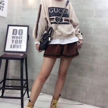ONETOW Gucci' Women Casual Stitching Letter Pattern Stripe Long Sleeve Shorts Set Two-Piece