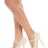 Elegant Crochet White High Heels