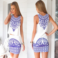 White Printed Top and Skirt Set