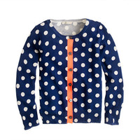 Girls' caroline cardigan in graphic dot - cotton - Girl's sweaters - J.Crew