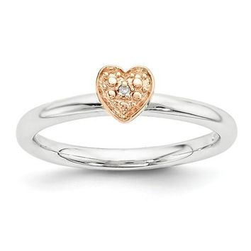 Sterling Silver Rose Gold-Plated Stackable Expressions Diamond Heart Ring
