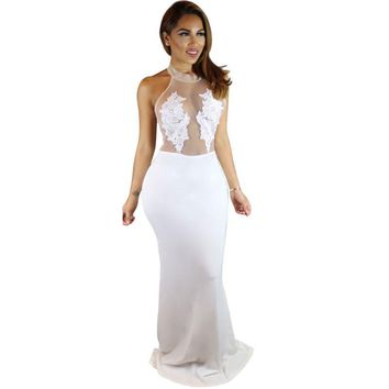 Floral Lace Sexy White Floor Length Maxi Long Dress