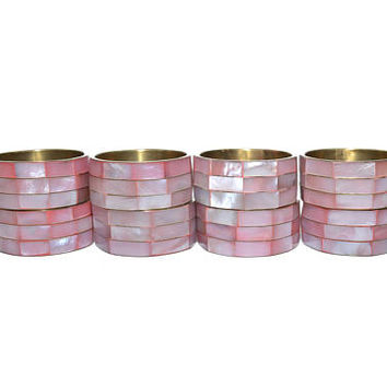 Vintage Pink Napkin Rings Mother of Pearl Napkin Rings Pink Mother of Pearl Napkin Holder Pink Shell Napkin Rings