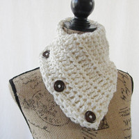 Ready To Ship Ivory Winter White Button Cowl Scarflette Wood Buttons Neck Warmer