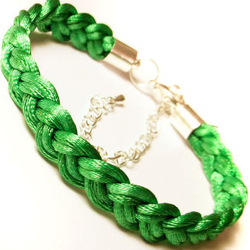 Braided bracelet woven rope plaited cord macrame friend knot adjustable modern satin jewelry gift for her green jade spring