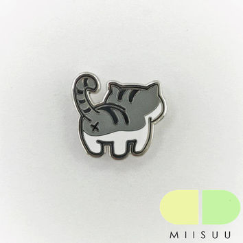 Grey Tabby Cat Butt Enamel Pin