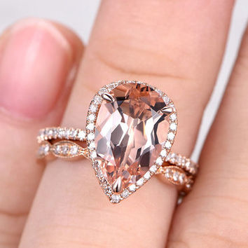 Rose Gold Morganite Wedding Set Diamond Full Eternity Ring 2.5 carat Pear Shaped Art Deco Stacking Band 14k/18k