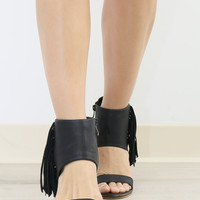 Very Volatile Ivy Black Fringe Ankle Cuff Heels