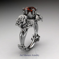 Nature Inspired 14K White Gold 1.0 Ct Brown Diamond Rose Petal Solitaire Ring R317S-14KWGBRD