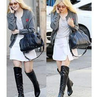 Women Black Knee High Boots Genuine Leather Long Boots