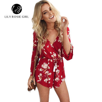 2016 Summer Style Boho Floral Print Drak Red Sexy V Neck Women Playsuits Romper Overall Long Sleeve Elegant Beach Short Jumpsuit