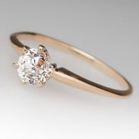 .64 Carat Old Euro Diamond Solitaire Engagement Ring 14K