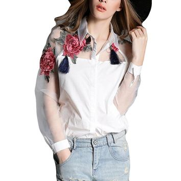 2017 Summer Fashion Women Applique Blouses Flower Embroidery Vintage Shirts Sheerness Organza Sleeve Tops Plus Size S-3XL Blusas