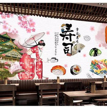 beibehang Custom wall papers home decor formaldehyde-free personalized decorative painting wallpaper sushi restaurant background
