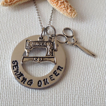 Sewing queen necklace, sewing machine, i love to sew, seamstress necklace, sewing, love to sew, gifts for sewing, handstamped gifts
