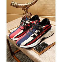 """GUCCI"" New Popular Rainbow Stripe Casual Shoes Sneakers I-OMDP-GD"