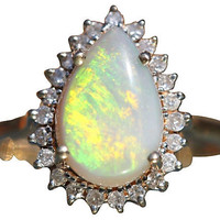 Opal Diamond Cocktail Ring 14k Gold