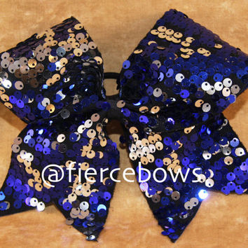 Navy Reversible Sequin Cheer Bow