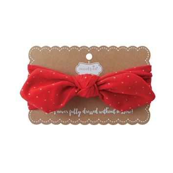 Gold Dot Bow Wrap Headband in Red