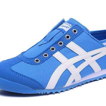 asics japan onitsuka tiger blue white unisex running shoes sneakers trainers  number 2