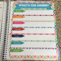 FREE SHIPPING Meal Planning & Grocery List Laminated Dashboard Insert for Erin Condren Life Planner - clips right into coils!