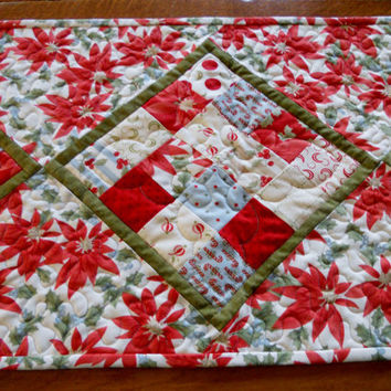 Christmas Table Runner Poinsettia Patchwork Extra Long Red Ivory Green Blue