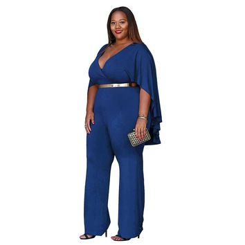 Plus Size Dress V-neck Clock Sleeve Wide-leg Jumpsuit Sexy Solid Long Sexy Rompers
