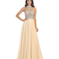 Preorder -  Nude Beaded Halter Ball Gown 2015 Prom Dresses