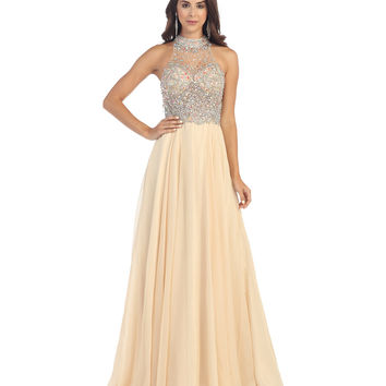 Nude Beaded Halter Ball Gown 2015 Prom Dresses
