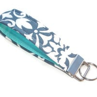 Key FOB / KeyChain / Wristlet key strap  - Gray damask robin eggs blue aqua soft - gift for her under 10