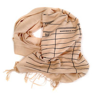 Library Date Due scarf. Black silkscreen print. Linen weave pashmina, your choice of sandy beige scarf & more. Perfect librarian gift.