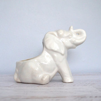 Vintage Elephant Planter Air Plant Holder White Glazed Ceramic