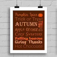 Autumn Word Art Print - Fall Wall Art - Seasonal Decoration - Autumn Wall Art - JPG/PDF (8x10)