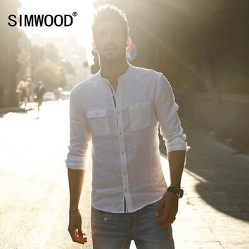SIMWOOD Brand 2018 New Arrival Spring  Casual Shirts Men 100% Linen  Long SLeeve Slim fit   Mandarin Collar Clothing  CS1591