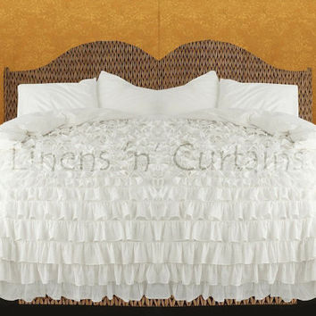 WHITE Ruffle Bedspread Set 3pc, Egyptian Cotton Bedding 1000 Thread Count