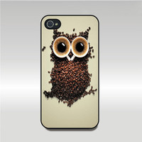 iPhone 4 case -- Cute Owl Coffee,  iPhone 4S case,  plastic hard case or silicone rubber case