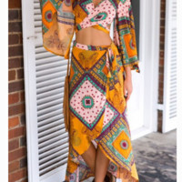 hot print two piece cross print dress