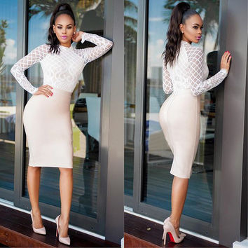 White Long Sleeve Bodycon Dress with Lace Details