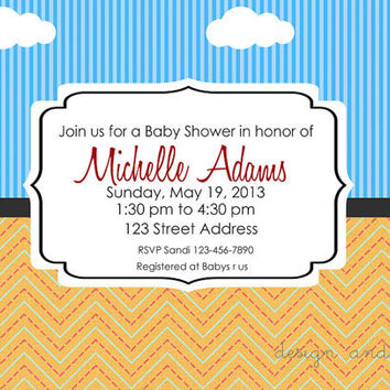 Modern Baby Shower Printable Invitation 5x7 Digital File Baby Announcement / First Birthday Boy Invite