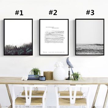 Scandinavian Minimalist Modern Forest Sea and Piano Spectrum Canvas  Art Print Wall Art Wall Poster/Painting/Pictures for Living