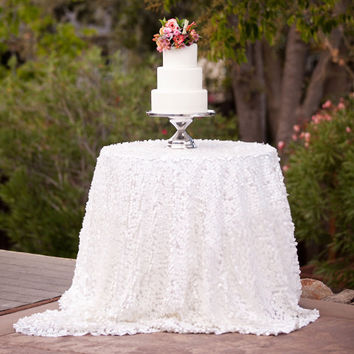 Snow Flake White Tear Drop Sequin Tablecloth