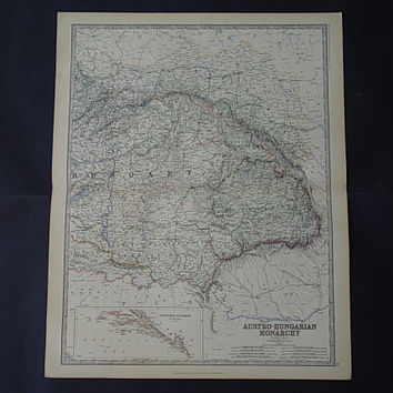 HUNGARY ROMANIA Large antique map 1878 original old English poster of Austro-Hungarian Empire Timișoara Transylvania big vintage maps 49x61c
