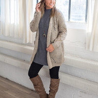 Open Knit Pocket Cardigan - Taupe