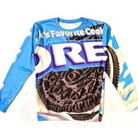 Unisex Hipster Novelty Sweater Oreo Funny Sweatshirt Hoodies 3D T Shirts (S)