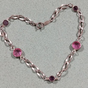 Avon Vintage Pink Crystal Sterling Silver Chain Bracelet Gift for Her Darling Classic Simple or Charm Bracelet Starter Chain