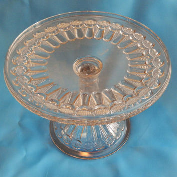 Antique Thompson Glass Bow Tie Cake Stand