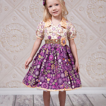 Girls Retro Dress - Girls Fall Dress - Fall Dresses - Autumn Dress - Toddler Dresses - Kids Dress - Thanksgiving Dress - Little Girls Dress